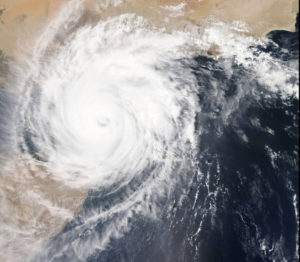Hurricane over a coastline